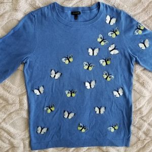 Talbots sequin butterfly embellished top